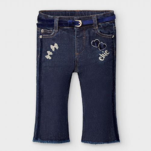 Denim Jeans with Navy Velvet Belt and Embroidery 6 Months